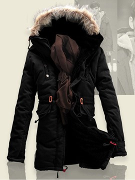 Ericdress Solid Fur Collar Flocking Men's Winter Jacket