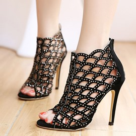 Ericdress European Hollow Out Peep Toe Stiletto Sandals