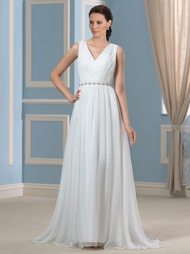 Ericdress Simple V Neck A Line Chiffon Wedding Dress