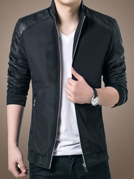 Ericdress Zip Patchwork Men's Blazer