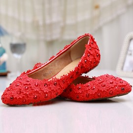 Ericdress Fashion Red Flat Wedding Shoes