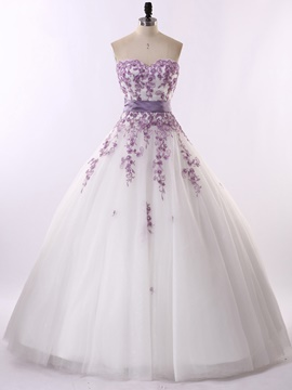 Ericdress Fancy Appliques Sweetheart Ball Gown Colorful Wedding Dress