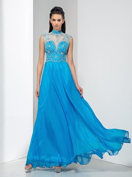 Ericdress A-Line High Neck Crystal Appliques Hollow Prom Dress