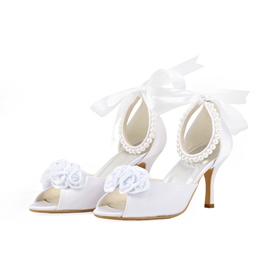 Ericdress Pearls&lace Bowtie Peep-toe Wedding Shoes