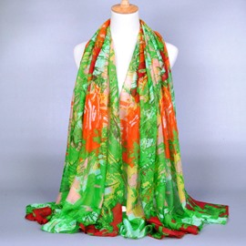 Oil Painting Style Voile Scarf