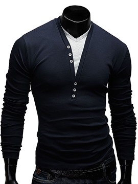 Ericdress Patched Long Sleeve Double-Layer Slim Men's T Shirt