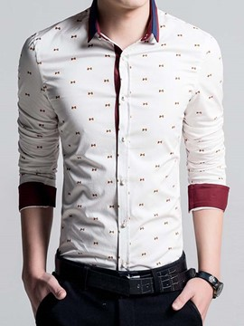 Ericdress Long Sleeve Bowknot Print Slim Men's Shirt
