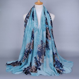 Ethnic Style Peony Decorated Voile Scarf