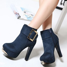 Ericdress Retro Buckles Decoration High Heel Martin Boots
