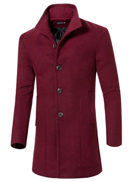 Ericdress Solid Lapel Warm and Windbreak Slim Wool Overcoat