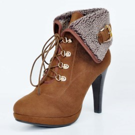 Ericdress OL Lace-up High Heel Boots