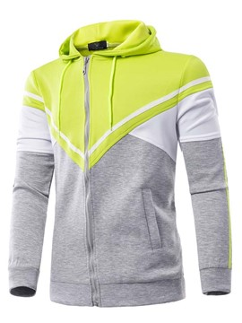 Ericdress Color Block Full Zip Casual Men's Hoodie