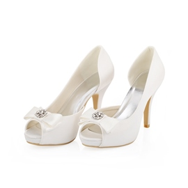 Ericdress White Bowtie High Heel Wedding Shoes