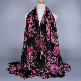 Big Flower Voile Scarf