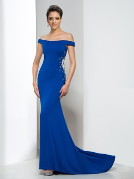 Ericdress Trumpet Sleeveless Appliques Court Train Evening Dress