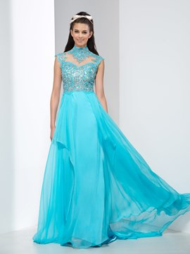 Ericdress A-Line High Neck Crystal Backless Prom Dress
