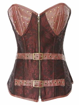 Ericdress Patchwork Zip Belt Decorated Corset