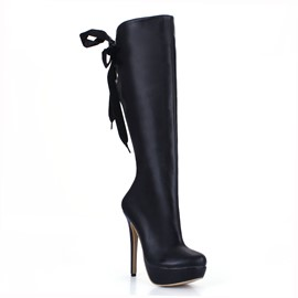 Ericdress Solid Color Black Knee High Boots
