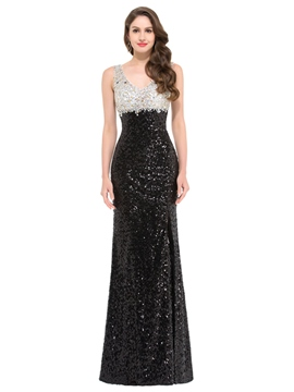 Ericdress Sheath V-Neck Beading Sequins Evening Dress