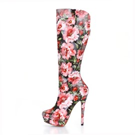 Ericdress Flower Print High Heels Knee High Boots