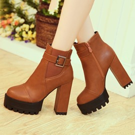 Ericdress Simple Buckles Decoration Chunky Heel Boots