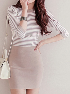 Ericdress Stripe Three-Quarter Sleeve Knit Bodycon Dress