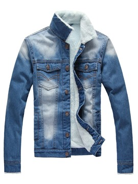 Ericdress Flocking Denim Stand Collar Men's Jacket
