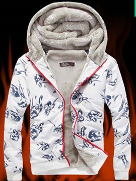 Ericdress Printed Flocking Zip Men's Hoodie