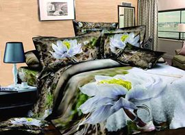 Ericdress Holy White Lotus Print 3D Bedding Sets