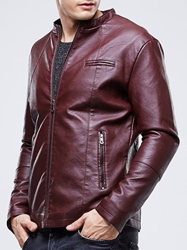 Ericdress Solid Thicken Flocking Zip Men's Jacket