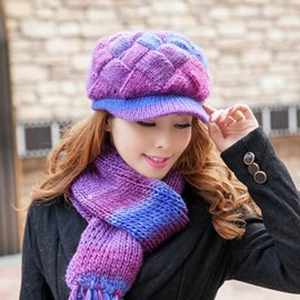 Ericdress Colorful Plaid Knitted Scarf and Hat