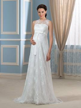 Ericdress Pretty Jewel Sweep Train Lace Maternity Wedding Dress