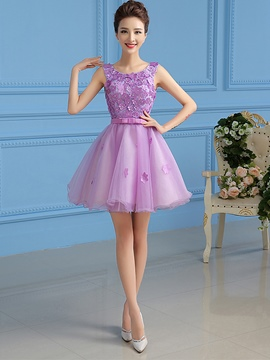 Ericdress A-Line Scoop Appliques Beading Short Homecoming Dress