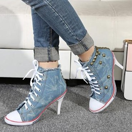 Ericdress Rivets Decoration Lace up Canvas High Heel Boots