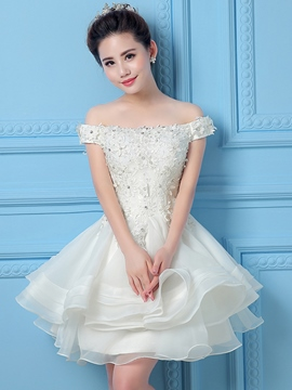 Ericdress Lace Crochet Beading Lace-up Boat Neck Falbala Ball Gown Mini Homecoming Dress