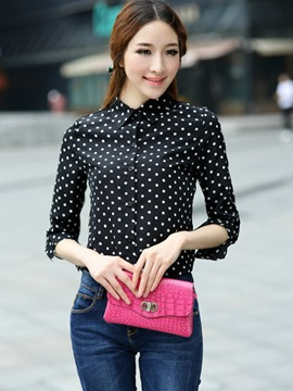 Ericdress Polka Dots Single-Breasted Blouse