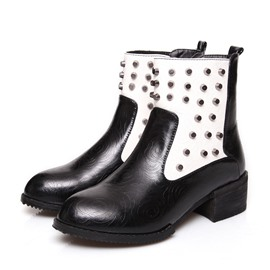 Ericdress Patchwork Rivets Decorated Ankle Boots