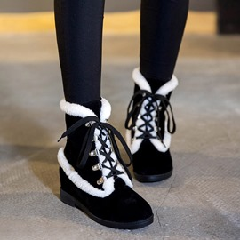 Ericdress Warm Furry Lace-up Snow Boots