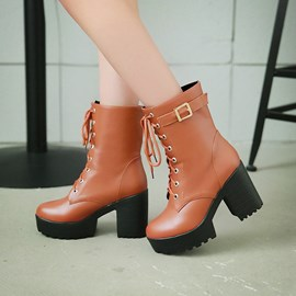 Ericdress All-matched Lace-up Chunky Heel Boots
