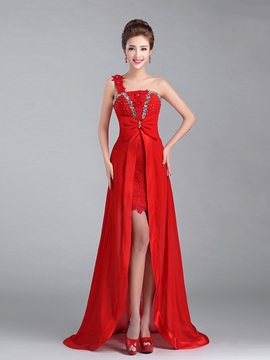 Ericdress One Shoulder Appliques Beading Bowknot Cocktail Dress