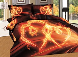 Ericdress Fire Dancing Love Heart Print 3D Bedding Sets