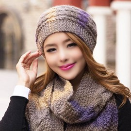 Ericdress Crochet Knitted Scarf and Hat Set