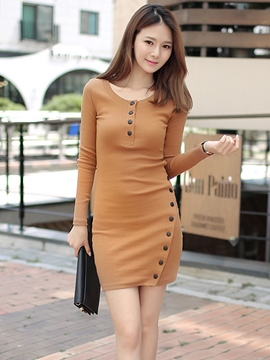 Ericdress Plain Single-Breasted Buttons Bodycon Dress