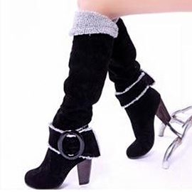 Ericdress European Buckles Decoration Chunky High Heel Boots