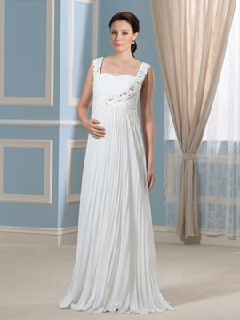 Ericdress Charming Straps Beading Long Maternity Wedding Dress