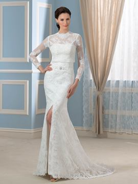 Ericdress Fancy Two-Piece Long Sleeves Mermaid Lace Wedding Dress