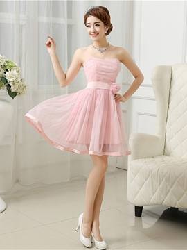 Ericdress Strapless Pleats Flower Sweet 16 Dress