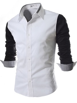 Ericdress Color Block Patched Slim Top Men's Shirt