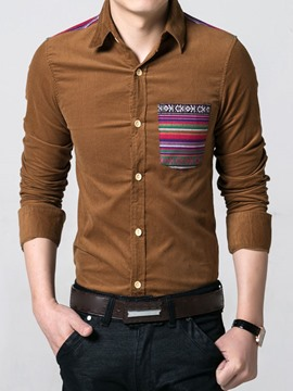 Ericdress Multi-Color Corduroy Patchwork Pocket Men's Shirt