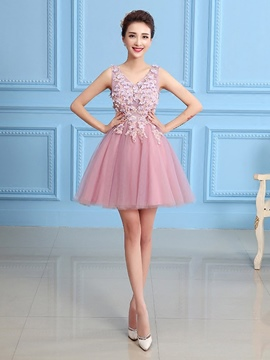 Ericdress A-Line V-Neck Appliques Beading Flowers Homecoming Dress